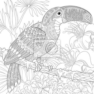 Stilisierte tukan vogel sitzt auf palm tree branch unter hibiskus ...