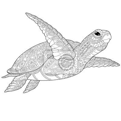 Atemberaubend Meeresschildkröte Färbung Seite Realistisch ...