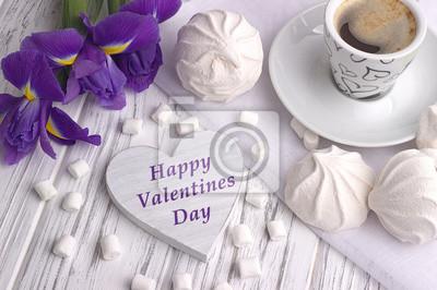 Stilleben Mit Tasse Kaffee Marshmallow Zephyr Iris Blumen Herz