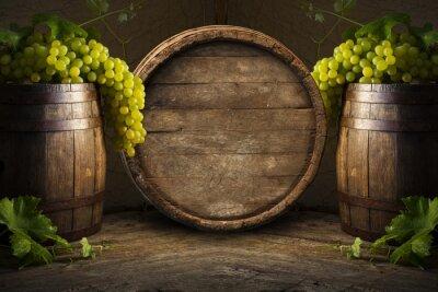 Fototapete Stilleben von Wein mit Holzfässern