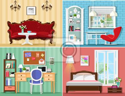 Stilvolle grafik-zimmer: wohnzimmer, schlafzimmer, büro zu hause ...