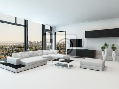 Stilvolles modernes schwarz-weiß-wohnzimmer fototapete ...