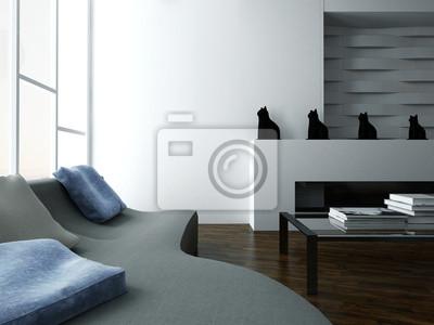 Stilvolles wohnzimmer-interieur mit couch und design möbel ...