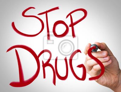 """""""Stop Drogen"""" Hand schriftlich mit roten Marker"""