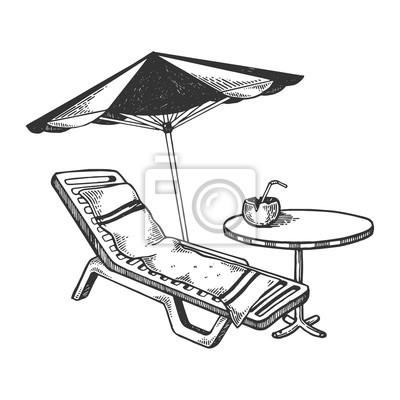 Strandgegenstände, die vektorillustration gravieren fototapete ...