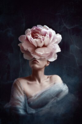 Fototapete Strange fine art concept. The body of a woman, her head is a peony