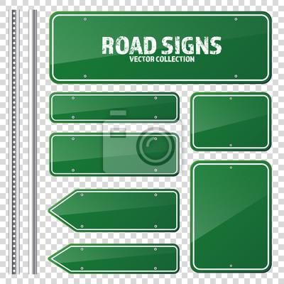 Fototapete Straße grüne Verkehrszeichen. Blank Board mit Platz für text.Mockup. Isolierte Information Zeichen. Richtung. Vektor-Illustration.