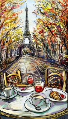 Fototapete Straße im Herbst in Paris. Eiffelturm -sketch Darstellung