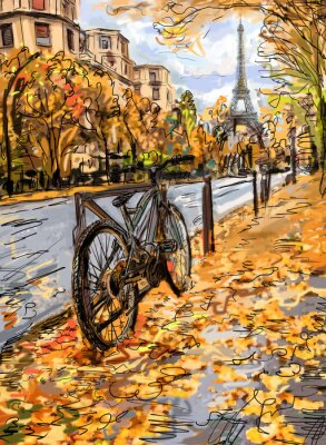 Fototapete Straße im Herbst in Paris. Eiffelturm -sketch Illustration