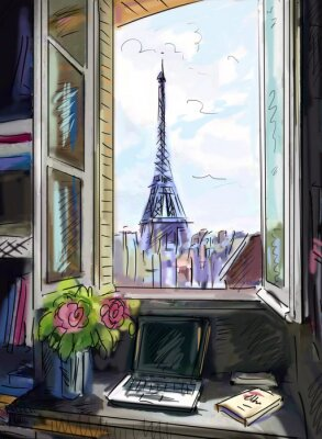Fototapete Straße in Paris. Eiffelturm - Abbildung