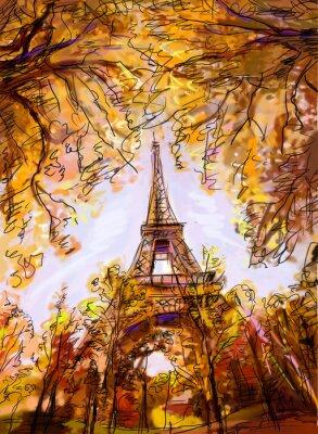 Fototapete Straße in Paris. Eiffelturm - Illustration