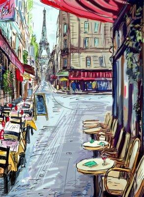 Fototapete Straße in Paris - Illustration