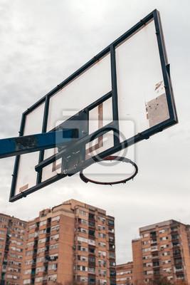 Street ball basketball board with torn net