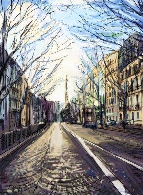 Fototapete Street in paris - Illustration
