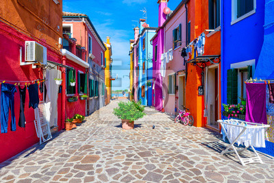 Fototapete Street with colorful buildings in Burano island, Venice, Italy. Architecture and landmarks of Venice, Venice postcard