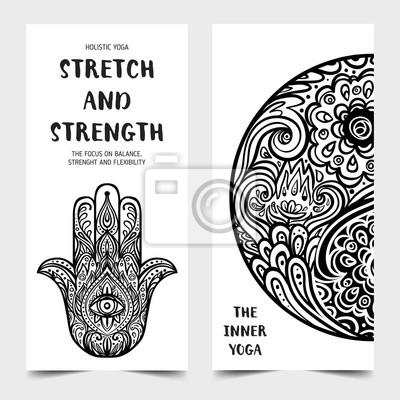 Stretch Und Stärke Yoga Karten Design Vorlage Schwarz Weiß
