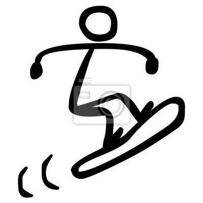 Strichmännchen: snowboarder - schwarz-weiß, gezeichnet, vektor ...