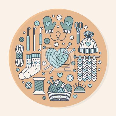 Stricken, häkeln, handgefertigte banner-illustration. vector ...