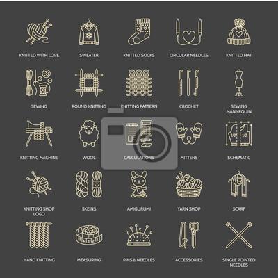 Stricken, häkeln, handgemachte line icons set. stricknadel, haken ...