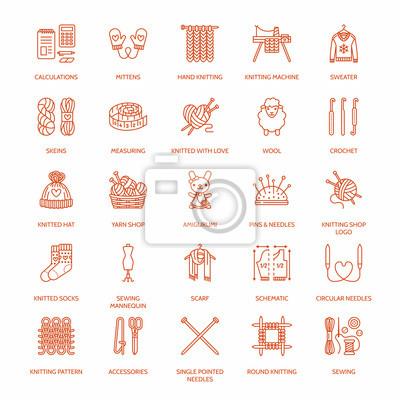 Stricken, häkeln, handgemachte linie ikonen eingestellt. stricknadel ...