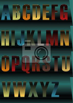 Striped Nacht Alphabet. Vector Illustration