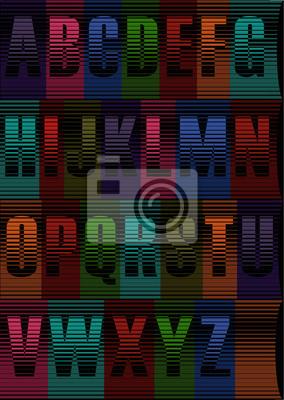 Striped Nacht Font. Vector Illustration