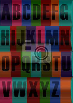 Striped Schwarz Alphabet. Vector Illustration