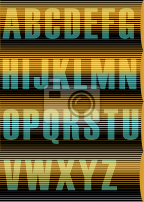 Striped Sunblind Alphabet. Vector Illustration