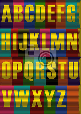 Striped  Yellow Alphabet. Vector Illustration