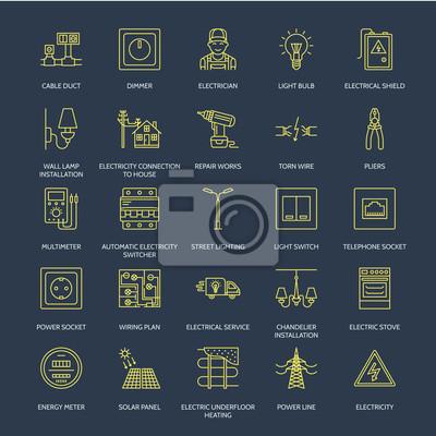 Stromtechnik vektor flache linie symbole. elektrische ausrüstung ...