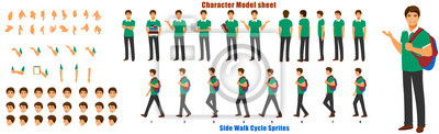 Fototapete Student Character Model sheet with Walk cycle Animation Sequence