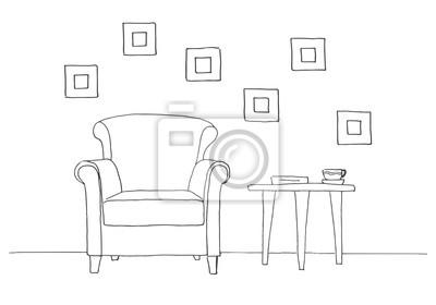 Fototapete Stuhl Tisch Mit Becher Hand Gezeichnet Vektor Illustration