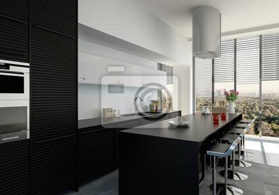 Fototapete Stylische Moderne Schwarze Küche Mit Kücheninsel In Penthouse  Wohnung