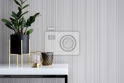Fototapete Stylish decoration on white console table