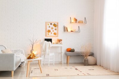 Fototapete Stylish interior of modern room with autumn decor