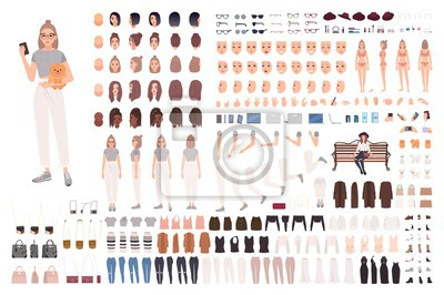 Fototapete Stylish young woman animation set or constructor kit. Collection of body parts, gestures, trendy clothes and accessories. Female cartoon character. Front, side, back views. Flat vector illustration.