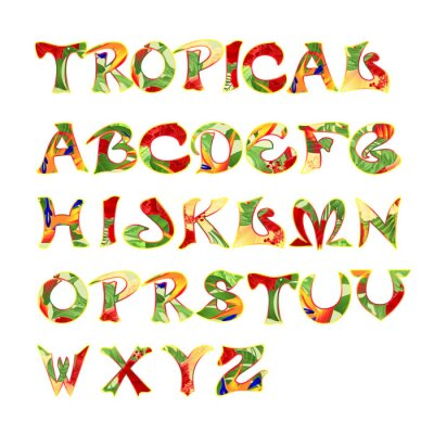 Stylized calligraphic font and alphabet tropical pattern vintage vector illustration editable  hand draw