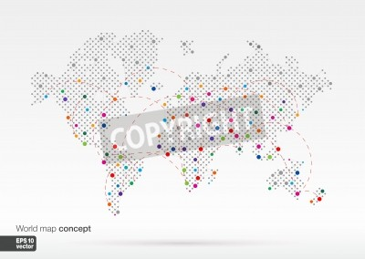 Stylized world map concept with biggest cities globes business ...