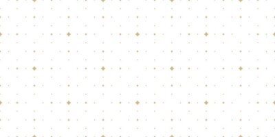 Fototapete Subtle golden vector seamless pattern with small diamond shapes, stars, rhombuses, dots. Simple wide geometric background. Abstract minimal white and gold texture. Luxury repeat design for decor, wrap