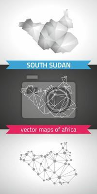 Fototapete Süd Sudan Sammlung Von Vektor Design Moderne Karten, Grau Und  Schwarz Und