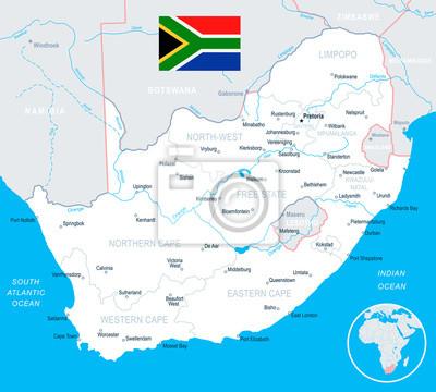 Südafrika Karte.Fototapete Südafrika Karte Und Flagge Illustration