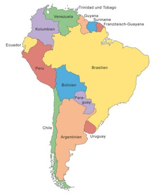 Fototapete Südamerika Karte in Farbe (mit Beschriftung)