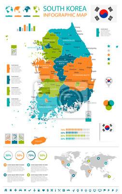 Südkorea Karte.Fototapete Südkorea Karte Und Flagge Infografische Darstellung