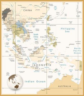 Fototapete Südostasien Detaillierte Karte Retro-Farben