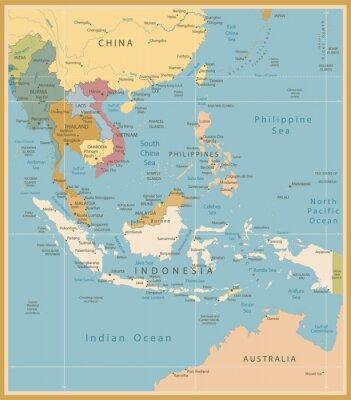 Fototapete Südostasien Karte Detaillierte Vintage Farben