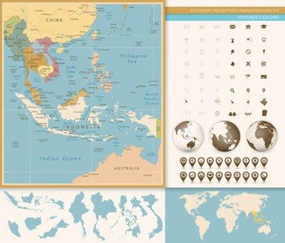 Fototapete Südostasien Karte mit Navigation Icon Set.