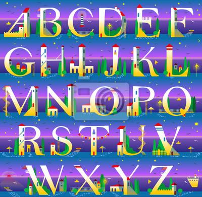 Summer Alphabet. Vector Illustration
