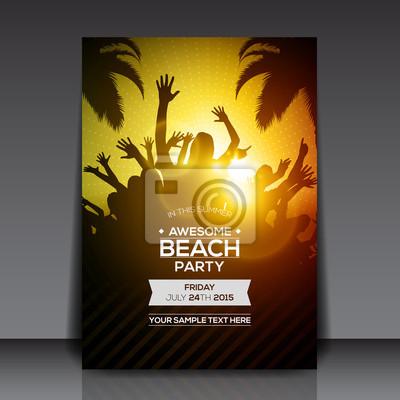 Summer beach party flyer template - vector design fototapete ...