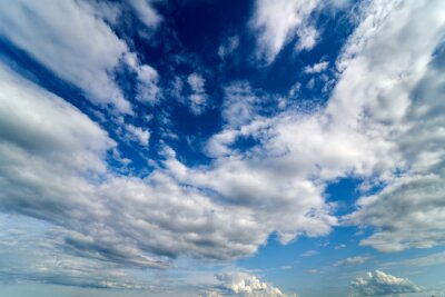 Fototapete Summer Blue Sky and white cloud white background. Beautiful clear cloudy in sunlight calm season. Panoramic vivid cyan cloudscape in nature environment. Outdoor horizon skyline with spring sunshine.