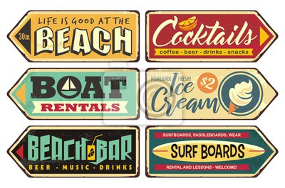 Fototapete Summer signs collection. Beach, cocktails, ice cream, boat rentals, beach bar, surf boards. Seasonal posters and sign boards collection. Retro vector ads. Vintage illustrations.